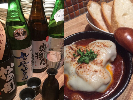 赤ワイン煮込みハンバーグと厳選日本酒